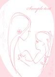 Het meisje van de moeder en van de baby. vector illustratie