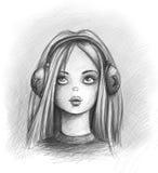 Het meisje van de muziek Stock Fotografie