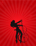 Het meisje van de muziek met gitaar en verlichting Royalty-vrije Stock Afbeeldingen