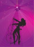 Het meisje van de muziek met gitaar en verlichting Stock Illustratie
