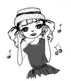 Het meisje van de muziekmanier Royalty-vrije Stock Afbeeldingen