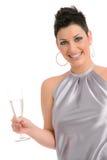 Het meisje van de partij met champagne Stock Afbeeldingen