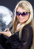 Het meisje van de partij met discobal Royalty-vrije Stock Foto