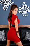 Het Meisje van de partij in Rood Stock Afbeeldingen