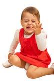 Het meisje van de peuter luid lachen uit stock afbeelding