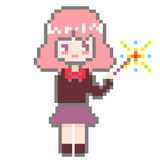 Het meisje van de pixelkunst Stock Foto's