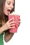 Het Meisje van de popcorn stock afbeeldingen