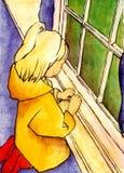 Het meisje van de regenjas vector illustratie