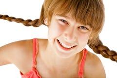 Het meisje van de roodharige het glimlachen vlechten Royalty-vrije Stock Afbeeldingen