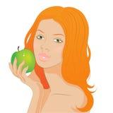 Het meisje van de roodharige met een appel stock illustratie