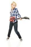 Het meisje van de rots met ontploffing plastic gitaar stock afbeelding