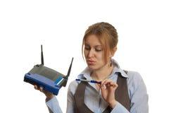 Het meisje van de router Stock Afbeeldingen