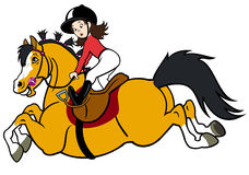 Het meisje van de ruiter met gelukkige poney Royalty-vrije Stock Afbeeldingen