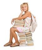 Het meisje van de school met Boeken Stock Foto