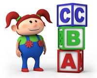 Het meisje van de school met kubussen ABC Stock Foto