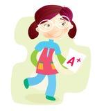 Het Meisje van de school met testresultaat royalty-vrije illustratie