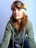 Het meisje van de schoonheid met beschermende brillen. Stock Foto's