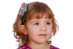 Het meisje van de schoonheid met de stok van het bloemhaar Stock Fotografie