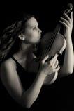 Het meisje van de schoonheid met viool Royalty-vrije Stock Afbeelding