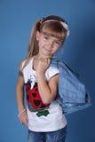 Het meisje van de schoonheid met wit lint Royalty-vrije Stock Fotografie