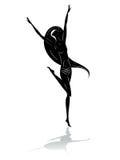 Het meisje van de silhouetdans stock illustratie