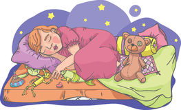 Het meisje van de slaap met speelgoed Royalty-vrije Stock Afbeelding