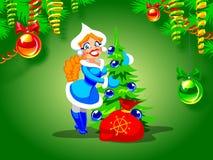 Het Meisje van de sneeuw en een Kerstboom Royalty-vrije Stock Afbeeldingen