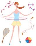 Het meisje van de sport met hoepel vector illustratie