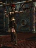 Het meisje van de Steampunkstrijder in dystopian fabriek Stock Foto