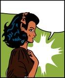 Het Meisje van de strippagina met de toespraak van de Bel Stock Afbeeldingen
