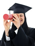 Het meisje van de student in een academische toga, Royalty-vrije Stock Afbeelding