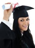 Het meisje van de student in een academische toga, Stock Fotografie