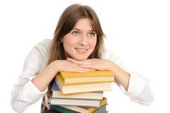 Het meisje van de student met boeken Stock Afbeelding