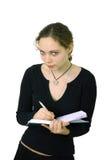 Het meisje van de student met notitieboekje royalty-vrije stock afbeeldingen