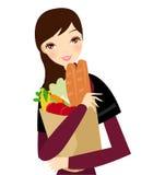 Het meisje van de supermarkt Stock Afbeeldingen