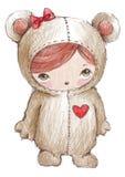 Het meisje van de teddybeer Stock Foto