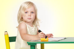 Het meisje van de tekening stock foto