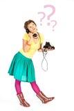 Het meisje van de telefoon Stock Foto