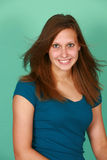 Het meisje van de tiener in bludeoverhemd royalty-vrije stock fotografie