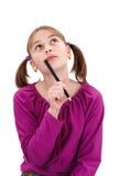 Het meisje van de tiener denkt Stock Foto