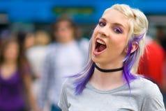 Het meisje van de tiener het gillen Stock Fotografie
