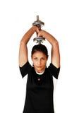 Het meisje van de tiener het opheffen gewicht. Royalty-vrije Stock Foto