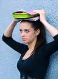Het meisje van de tiener met boeken Royalty-vrije Stock Afbeelding