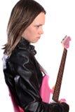 Het meisje van de tiener met gitaar Royalty-vrije Stock Foto's