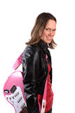 Het meisje van de tiener met gitaar Stock Foto's