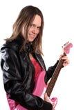 Het meisje van de tiener met gitaar Stock Foto