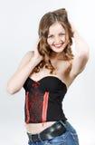 Het meisje van de tiener met lange krullende haren royalty-vrije stock foto
