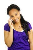 Het meisje van de tiener met mobiele telefoon Stock Foto