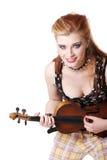 Het meisje van de tiener punk het spelen fiddle. Stock Afbeelding