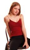 Het meisje van de tiener in rode blouse Royalty-vrije Stock Afbeeldingen
